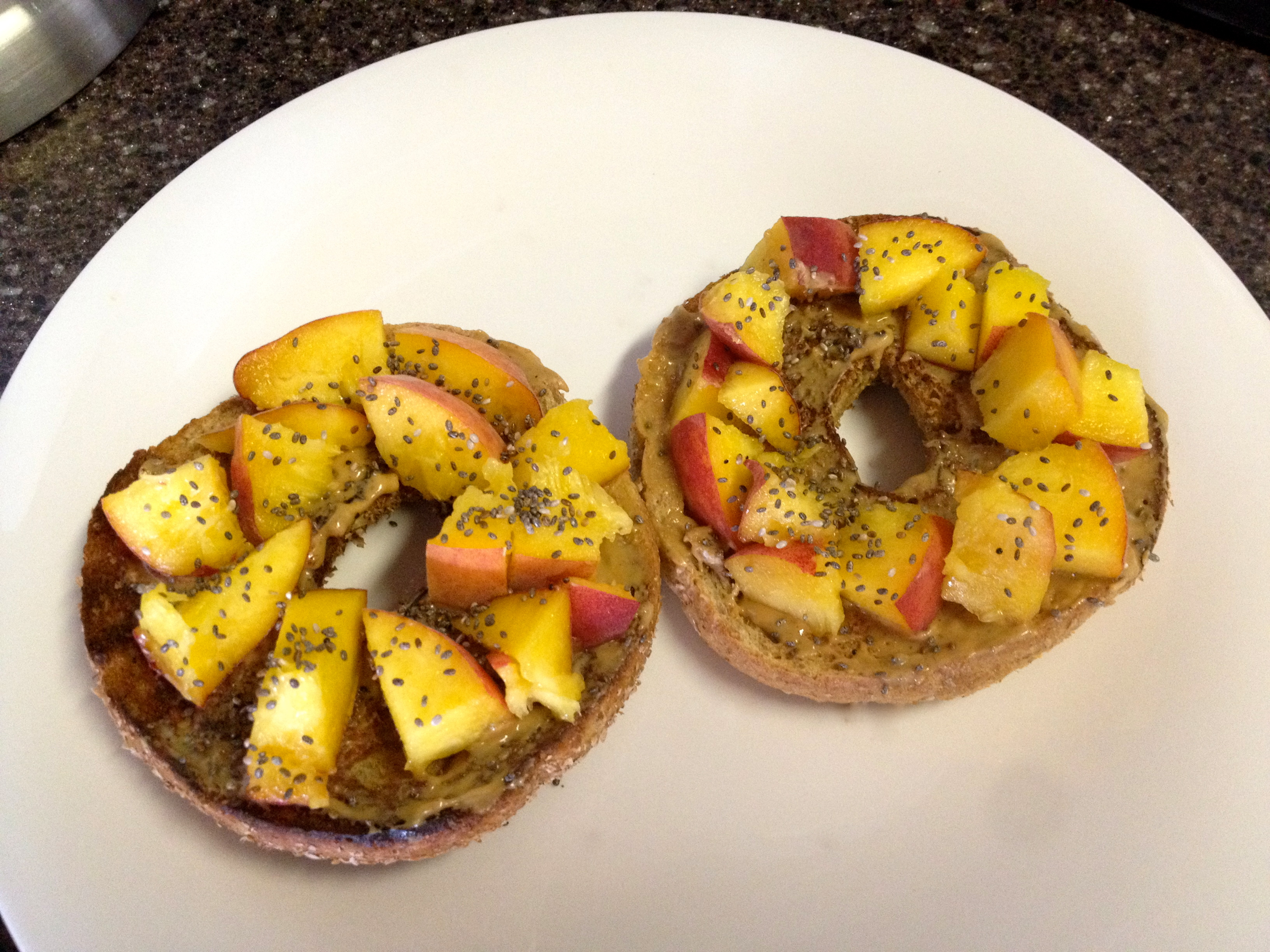 Peach and Peanut Butter on wheat bagel