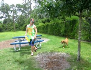 Scott and Roadie at dog park