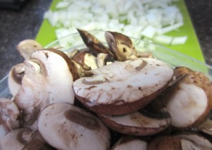sliced mushrooms and onions
