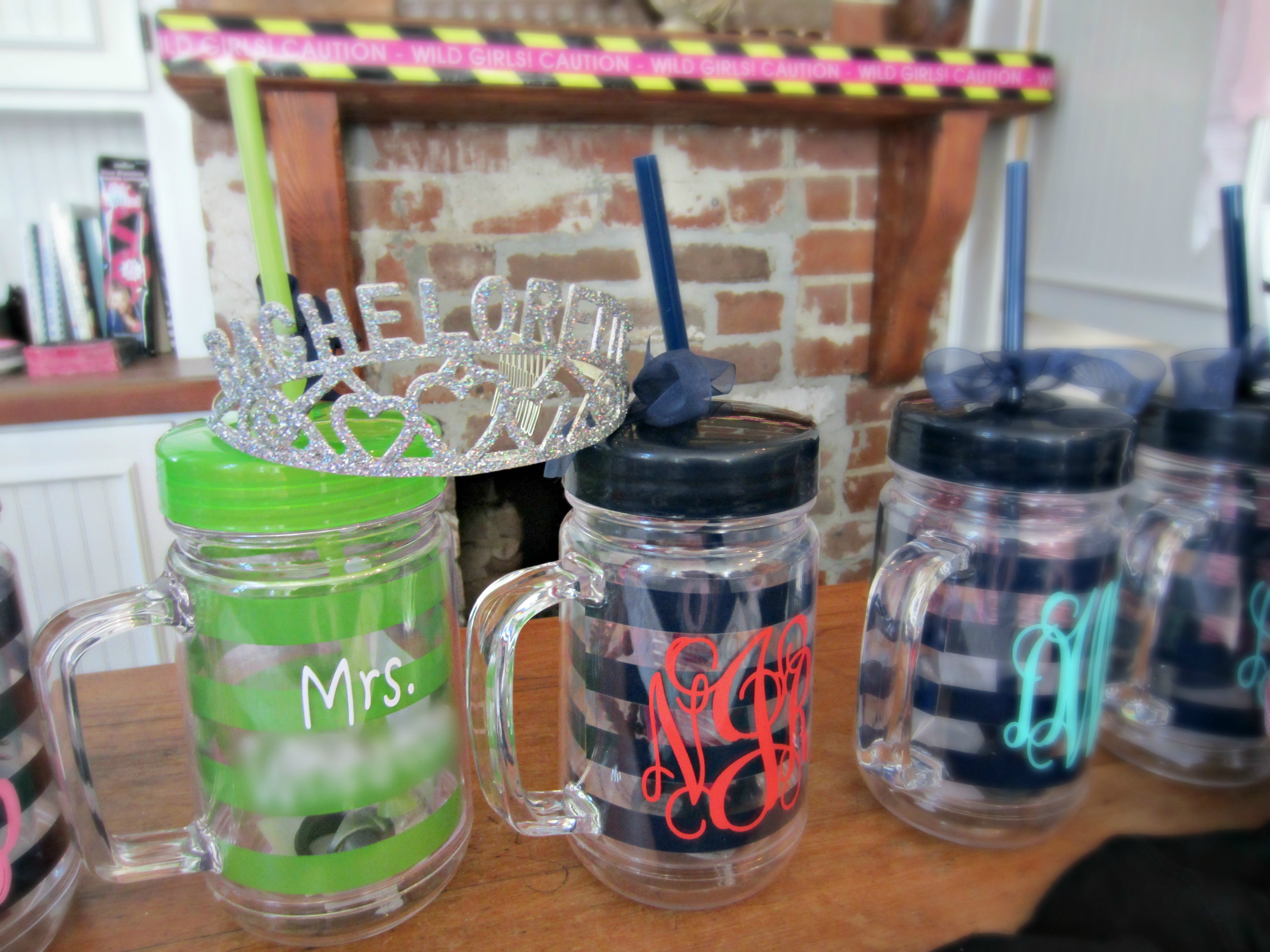 Bachelorette party tumblers blurred
