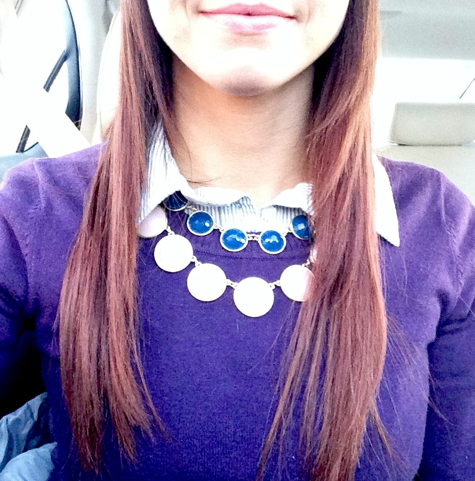 cardigan and statement necklace fashion