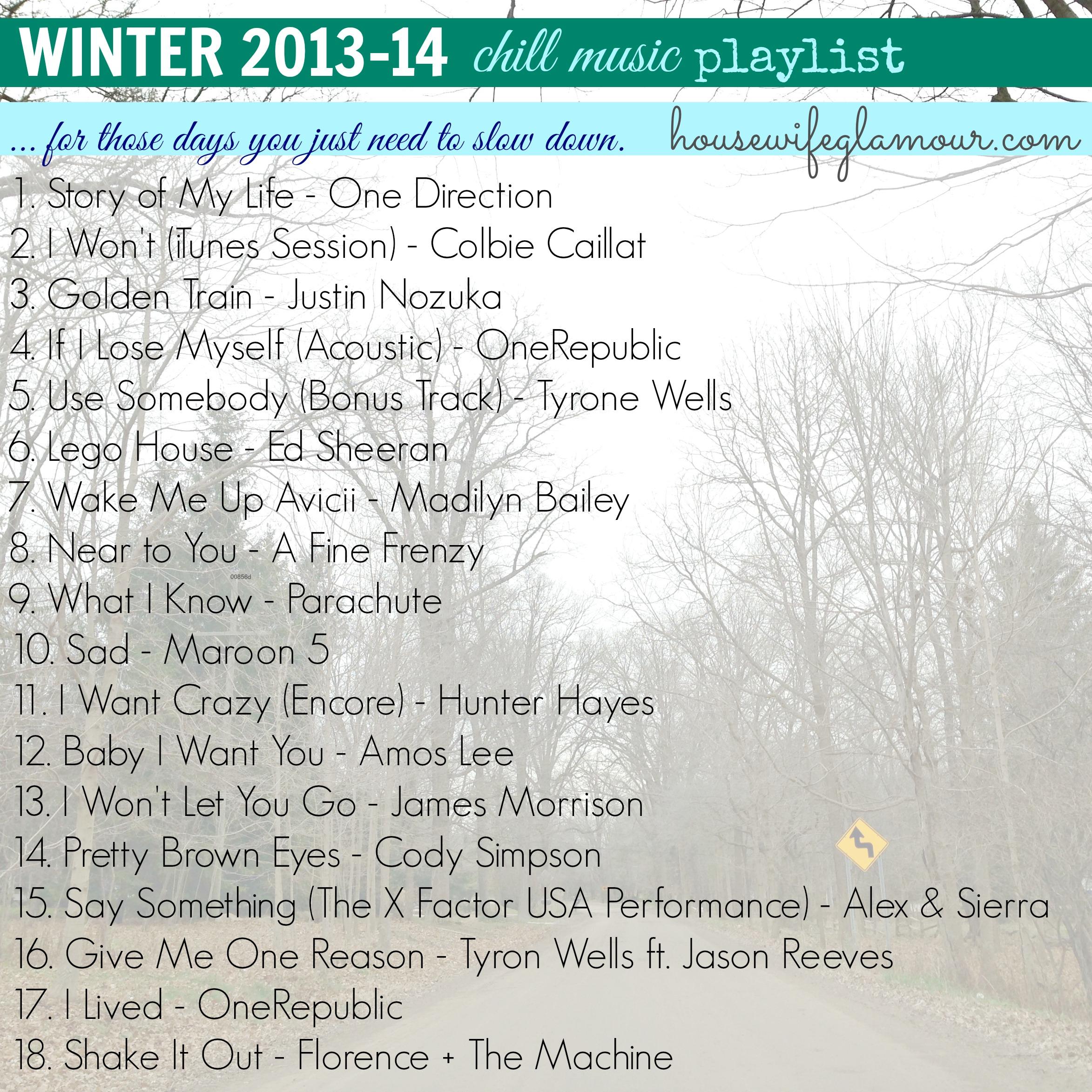 winter 2014 chill slow down playlist