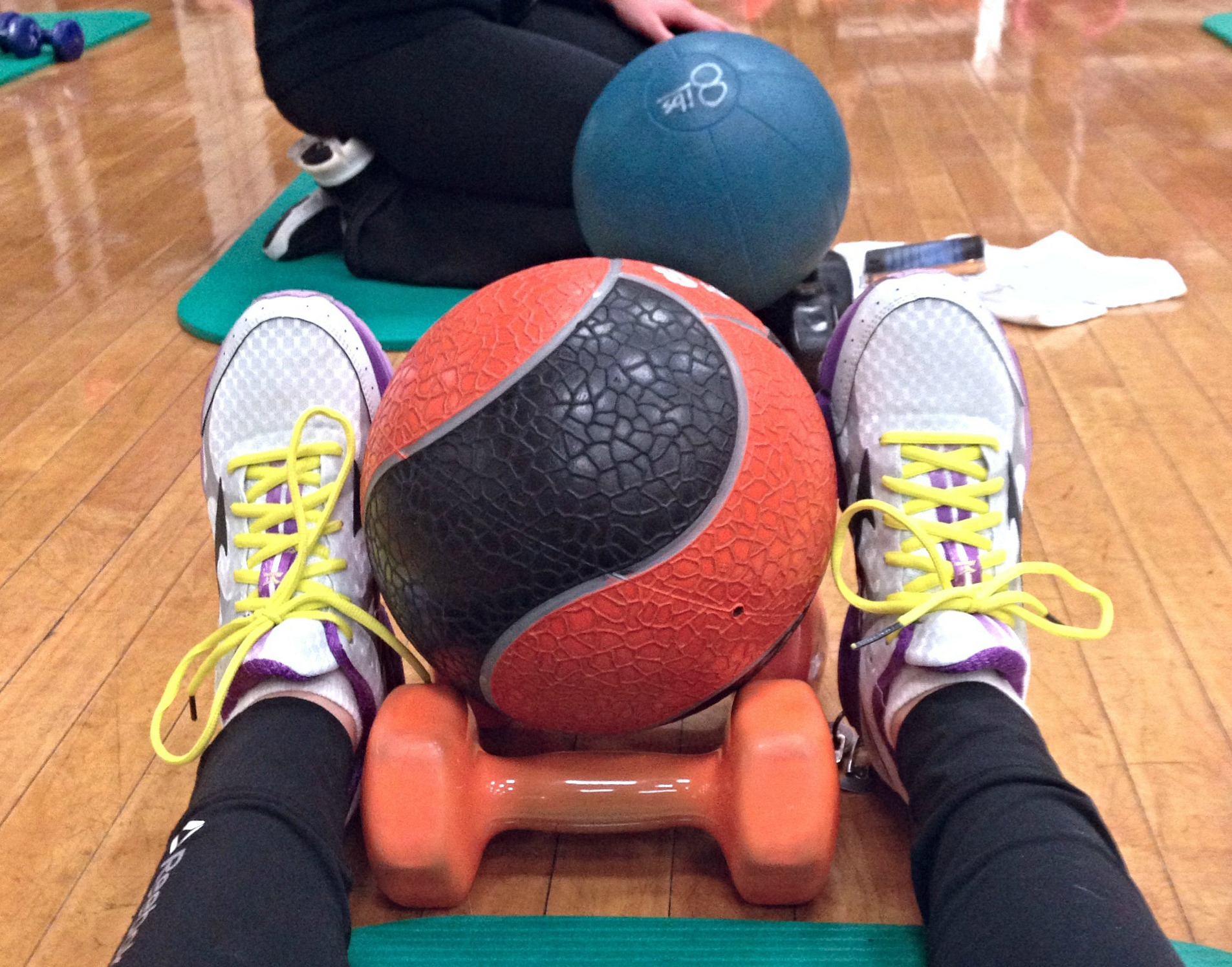 fitness pilates with medicine ball and weights