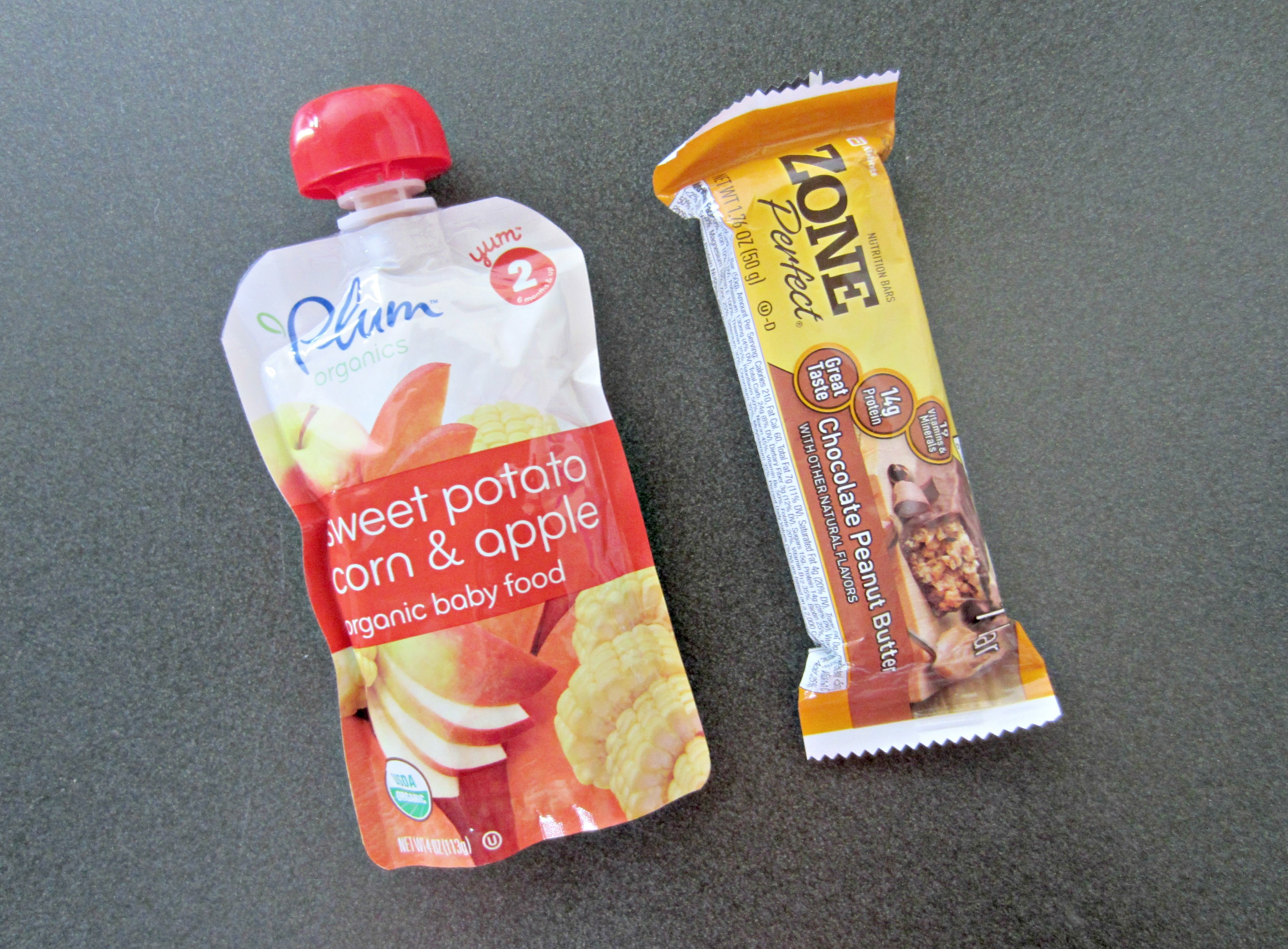baby food and protein bar healthy snack