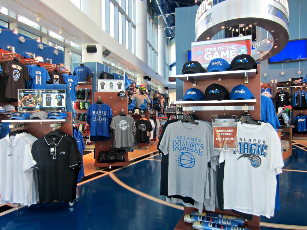 Orlando Magic Team Shop. The team shop is located on the Event Level at the corner of Church Street and Hughey Avenue. Hours of operation for the store varies between non-event days, concert/show/event days, and Magic game days.