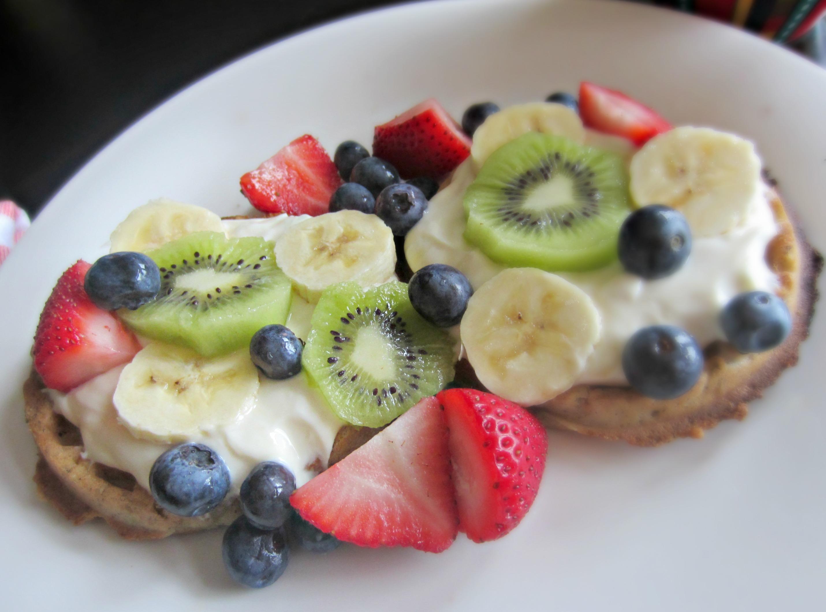 healthy waffles fruit and yogurt breakfast