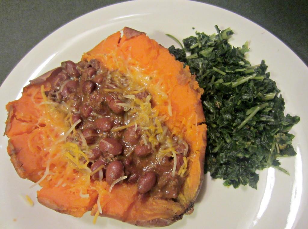 sweet potato chili and kale dinner