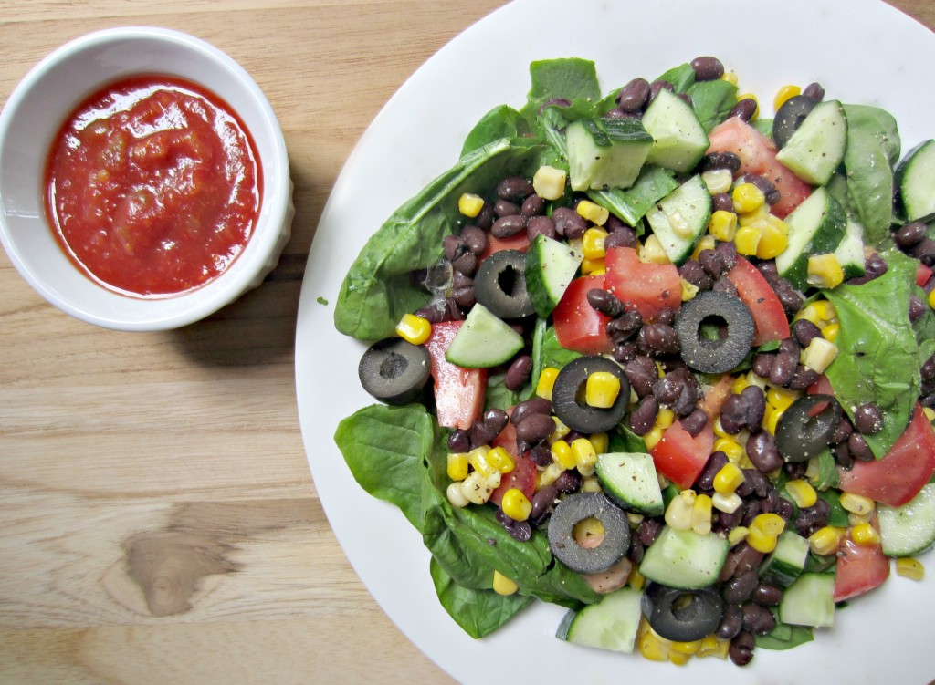 Salad to curb my cravings for beans corn and spicy