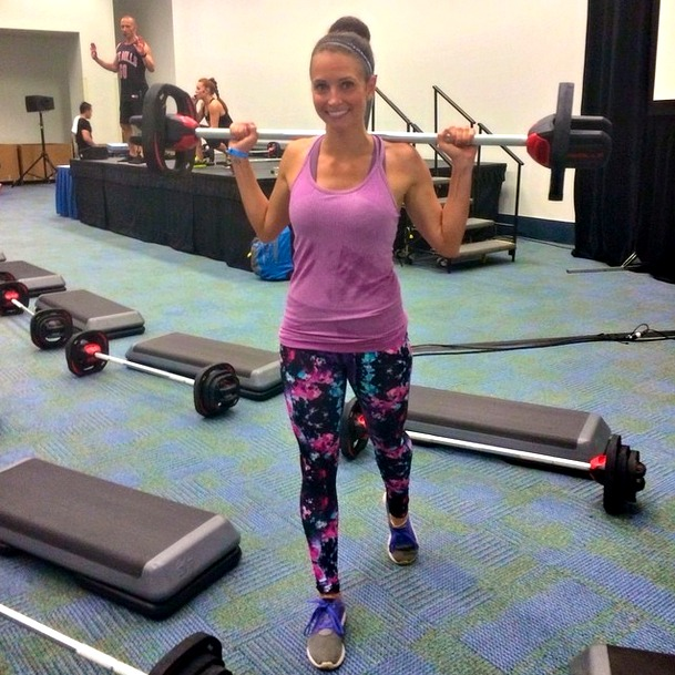 Heather in Fabletics at IDEA Les Mills BodyPump