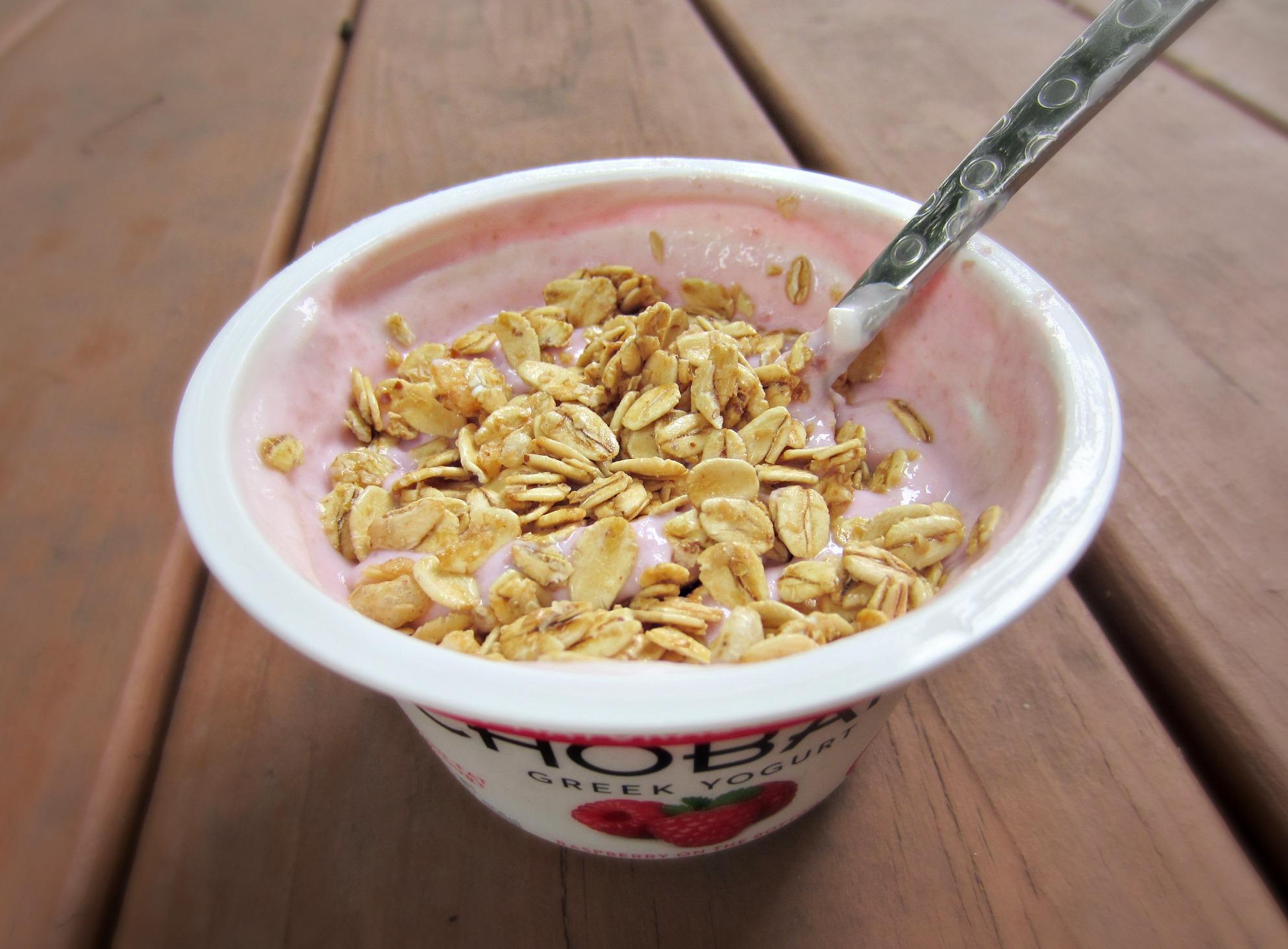 Raspberry Greek yogurt healthy snack