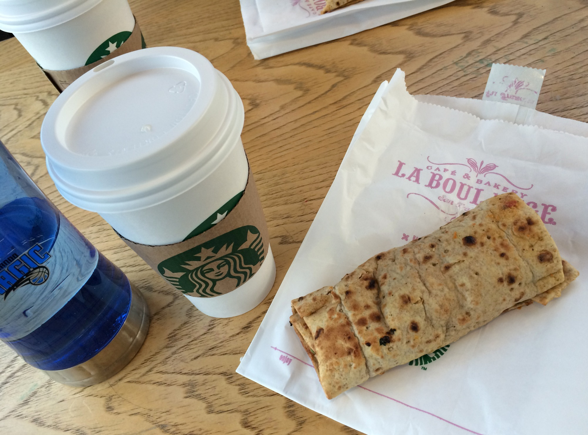 starbucks chi tea latte and spinach feta wrap