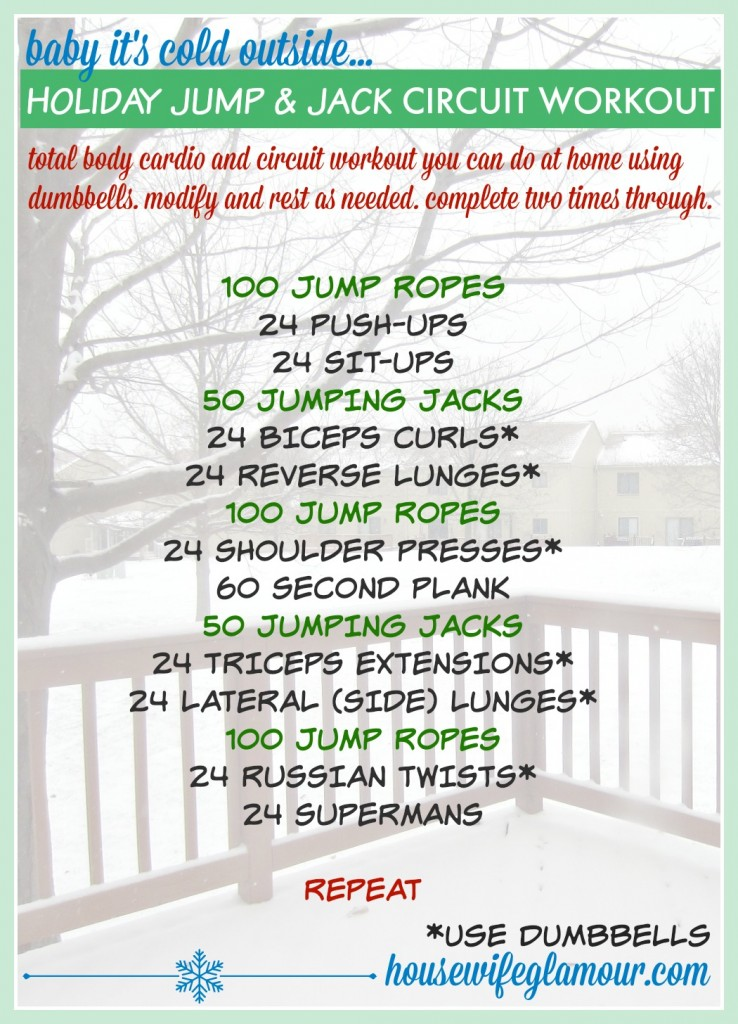 holiday jump and jack cardio and circuit workout