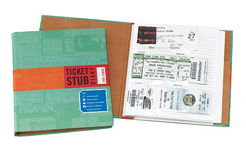 ticket stub diary gift idea