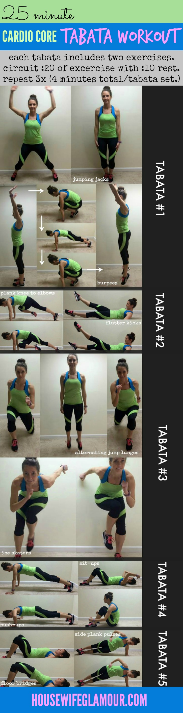 25 Min cardio core tabata workout