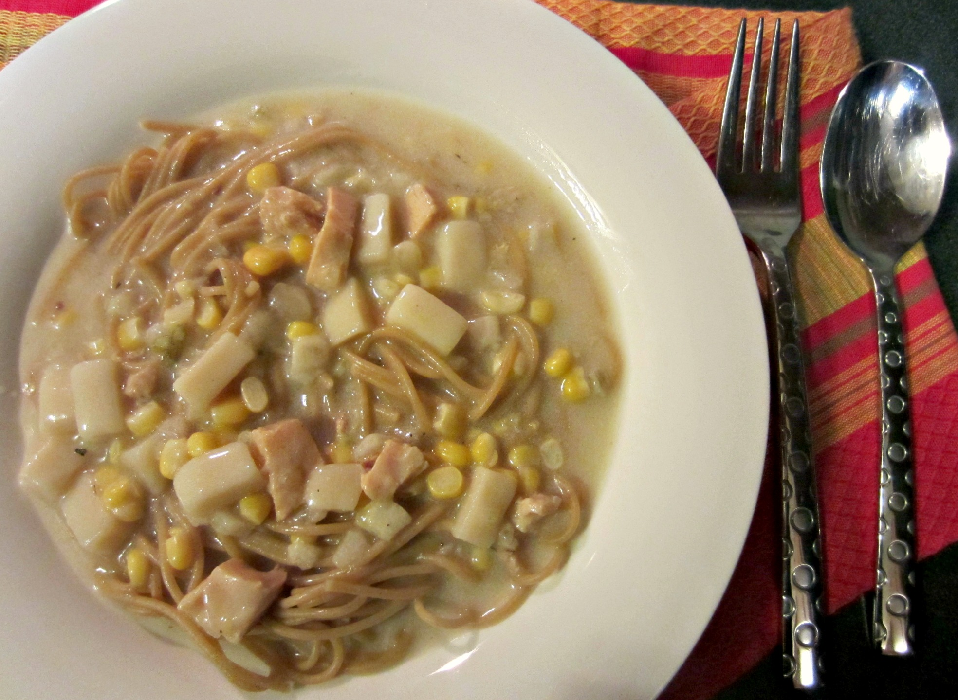 Progresso Light Chicken Corn Chowder over noodles