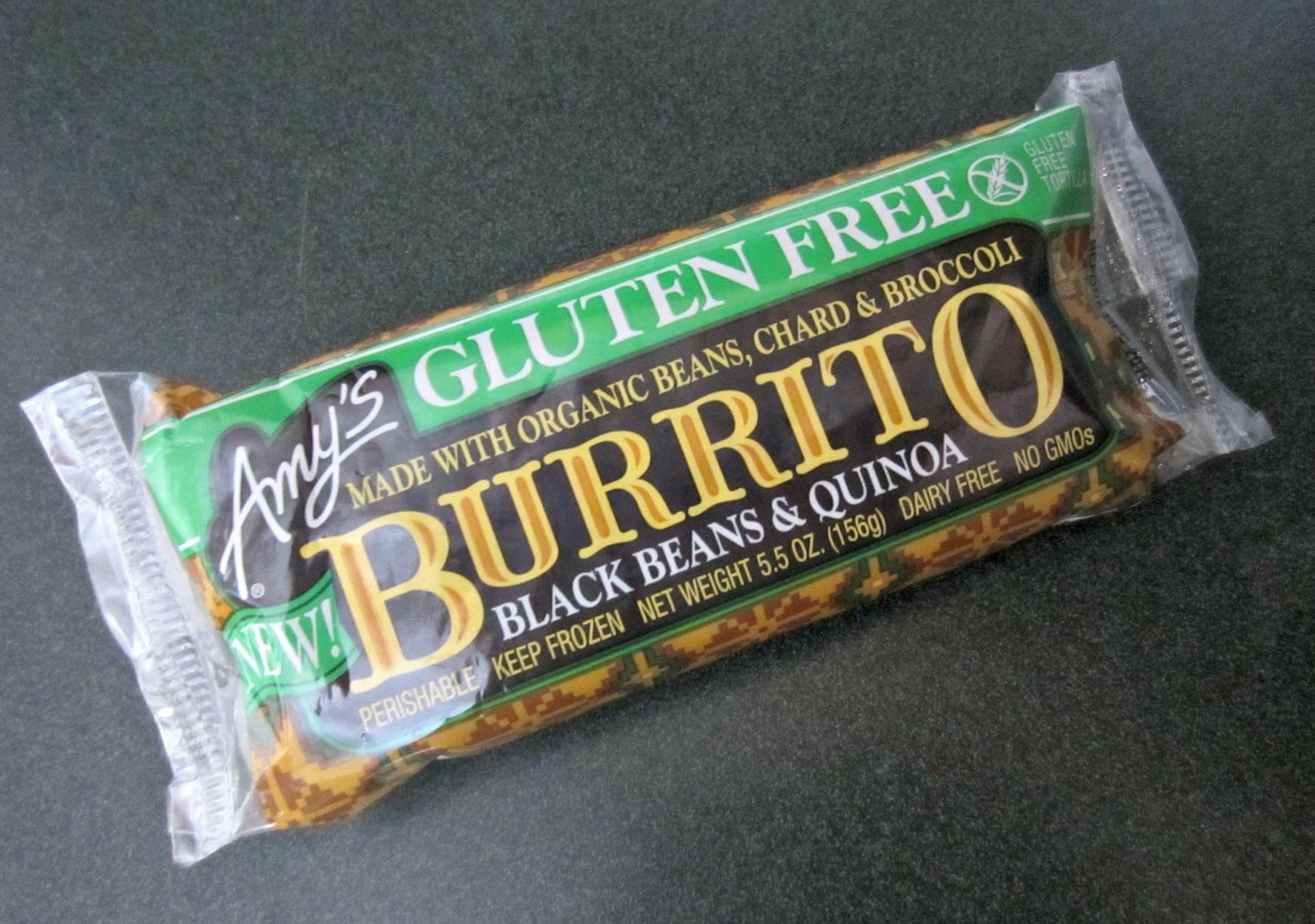 amy's gluten free black beans & quinoa burrito