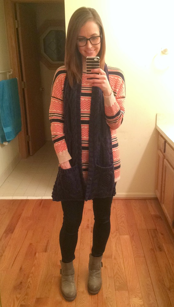 comfy sweater scarf and boots