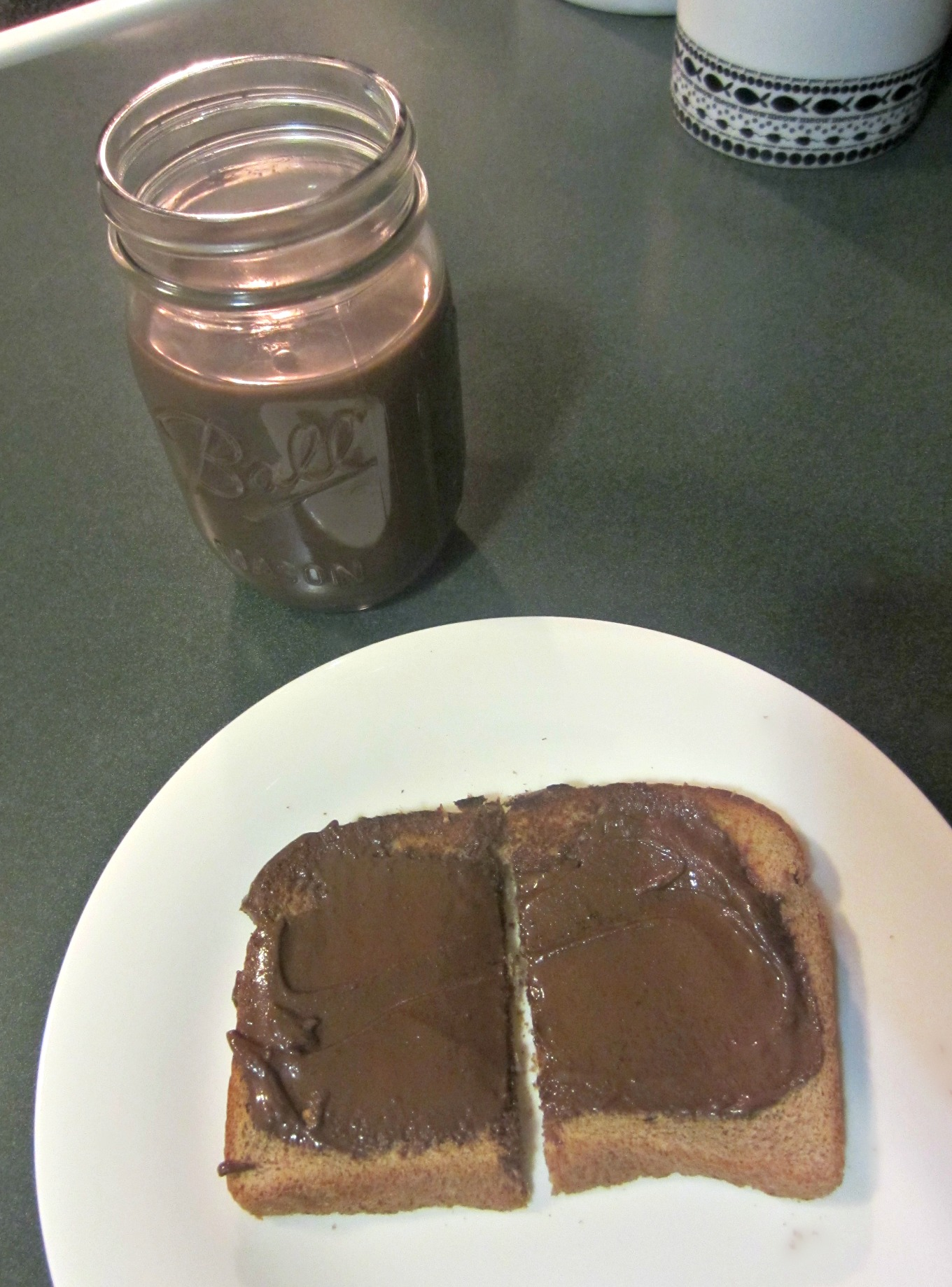 dark chocolate almond milk and toast