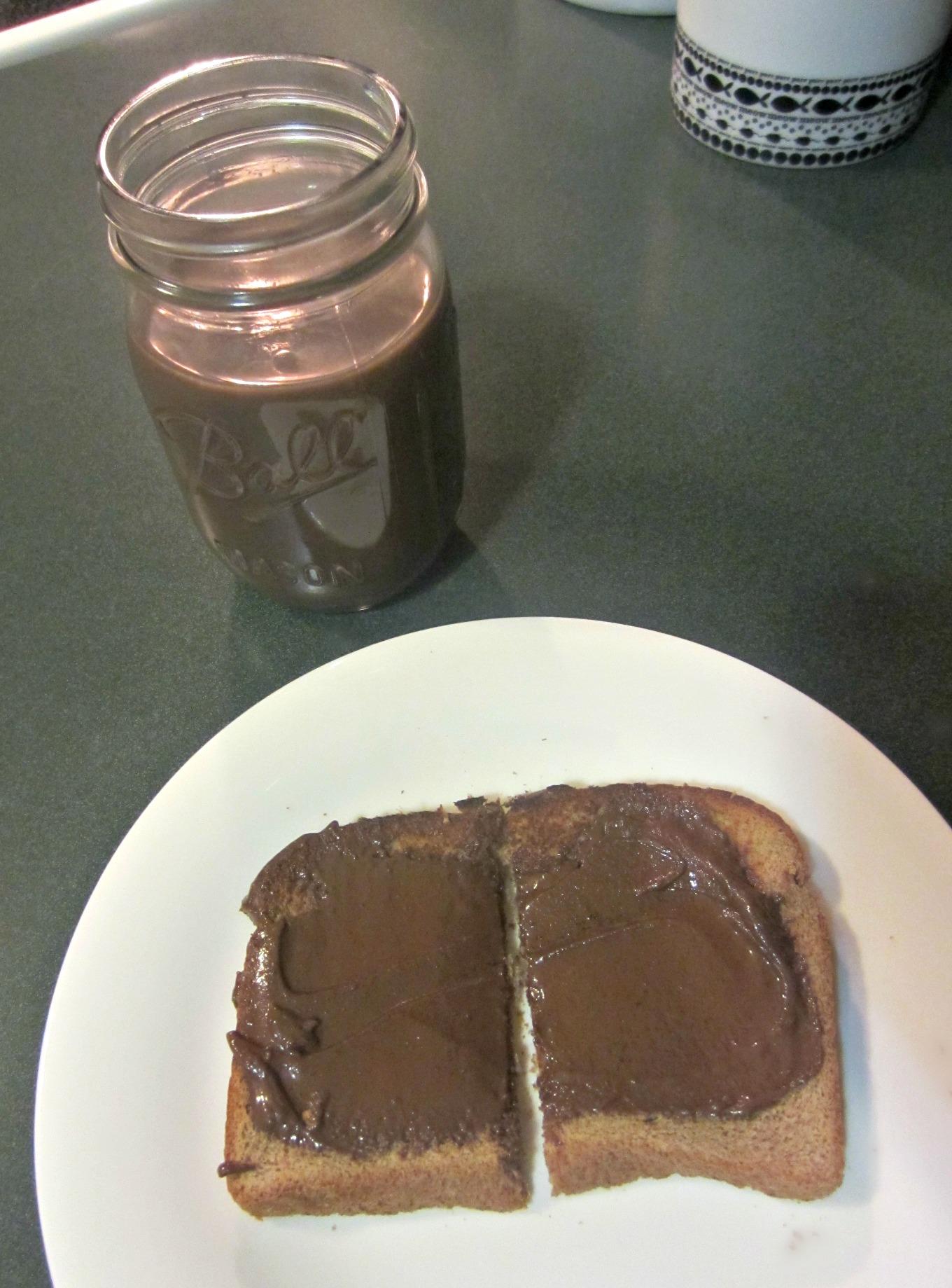 dark chocolate almond milk and toast