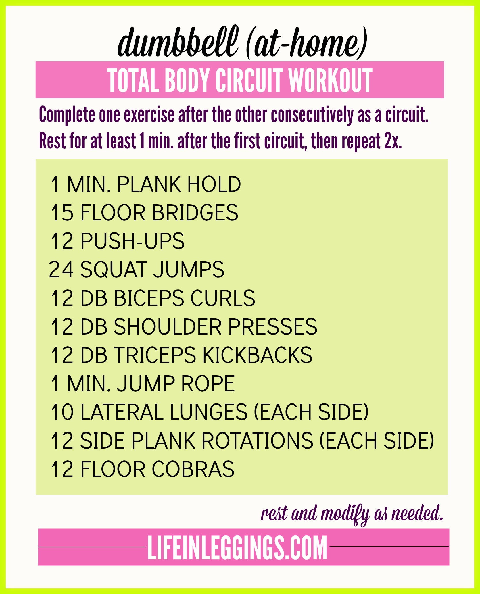 dumbbell at-home total body circuit
