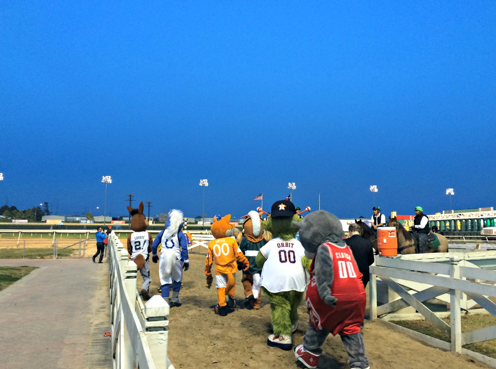 mascots at sam houston race track