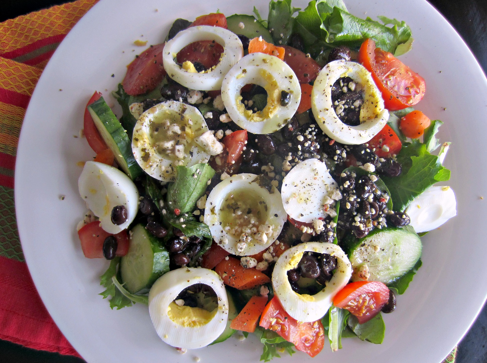 monster salad with hardboiled eggs