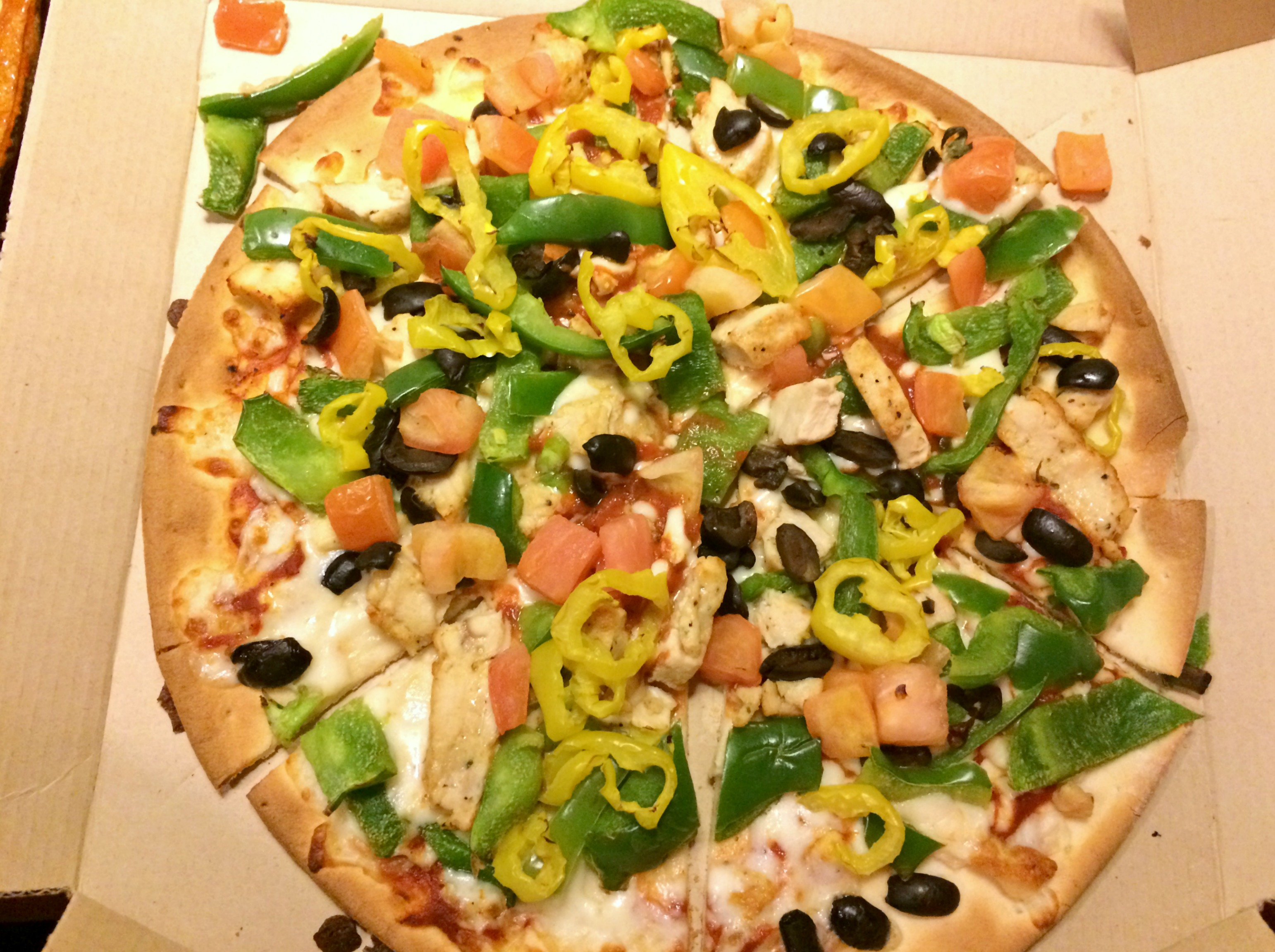 pizza hut veggie loaded chicken pizza