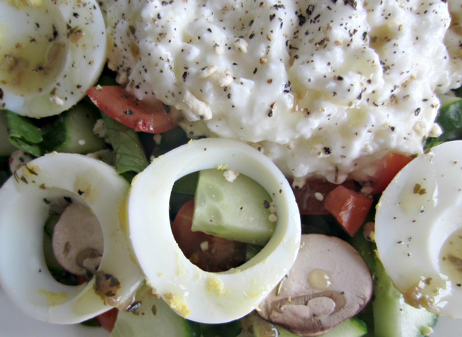 salad with cottage cheese and eggs close up