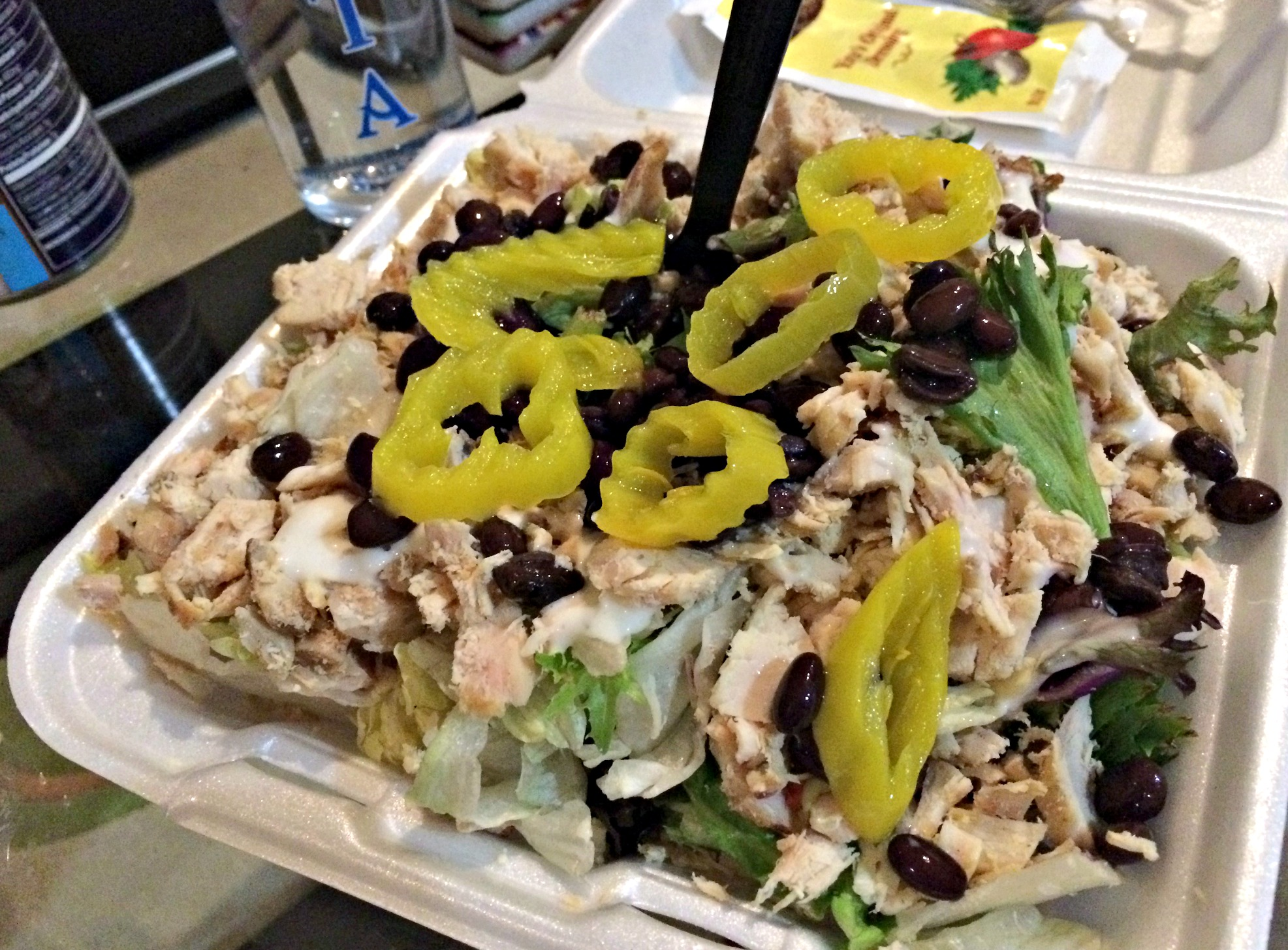 shredded chicken salad with beans and peppers