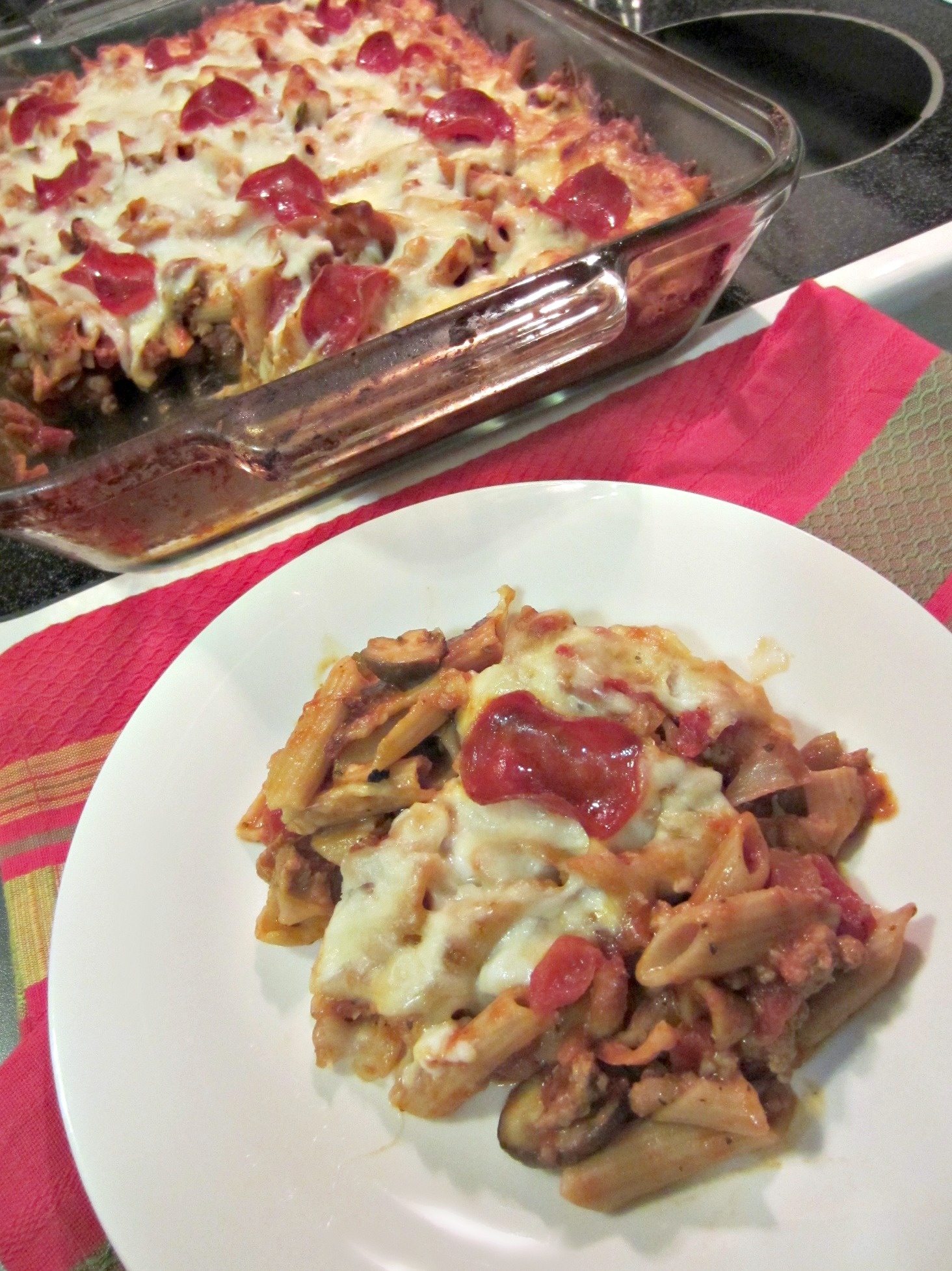 skinny supreme pizza pasta casserole