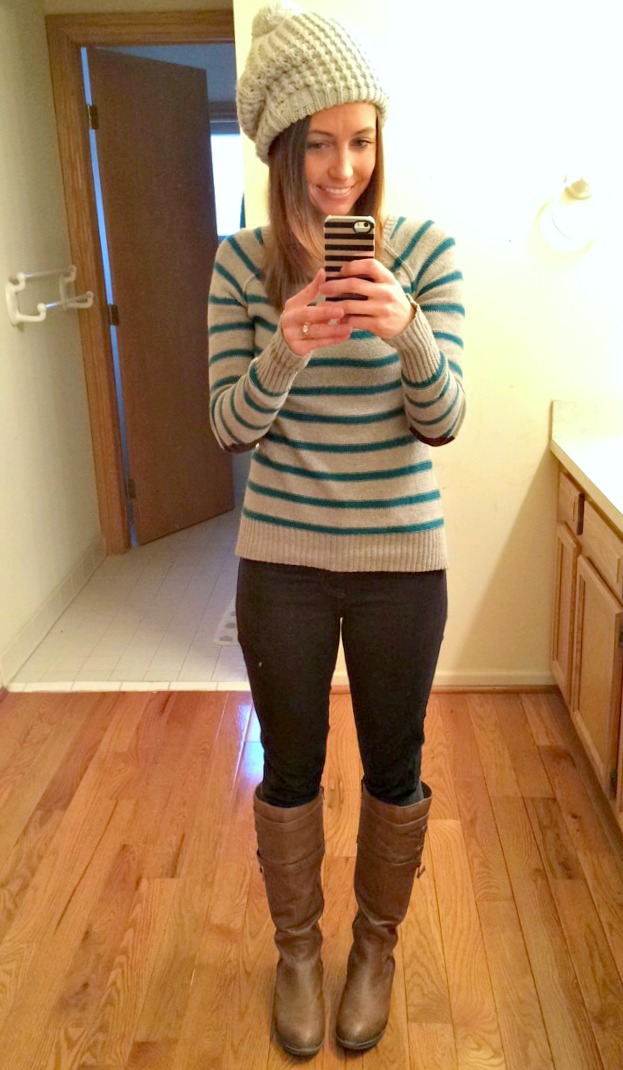 sweater hat and boots for winter