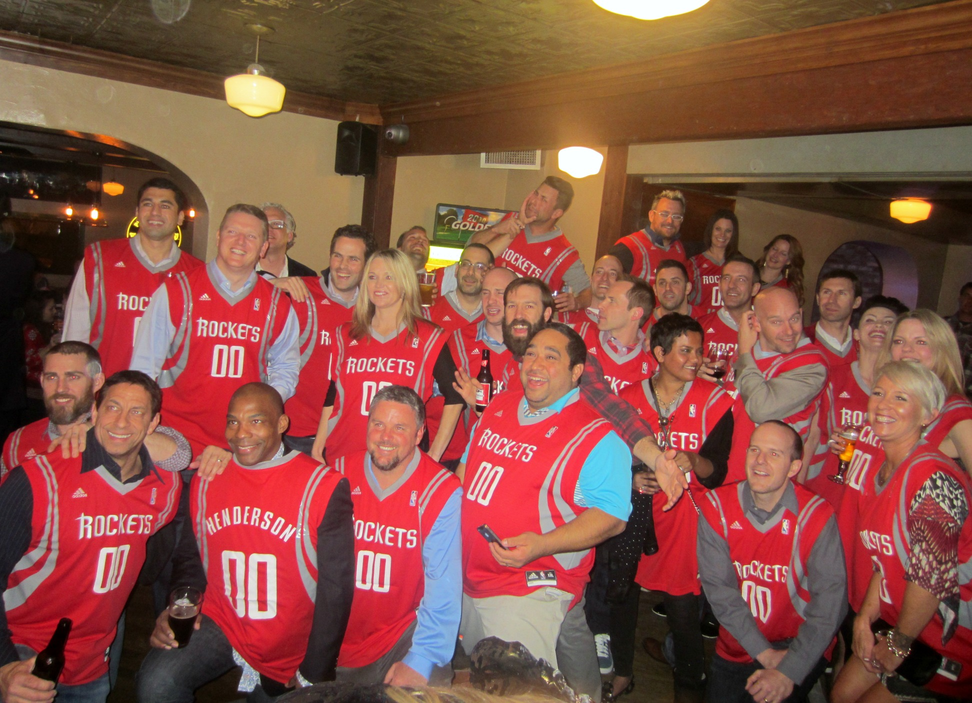 wedding party in rockets jerseys