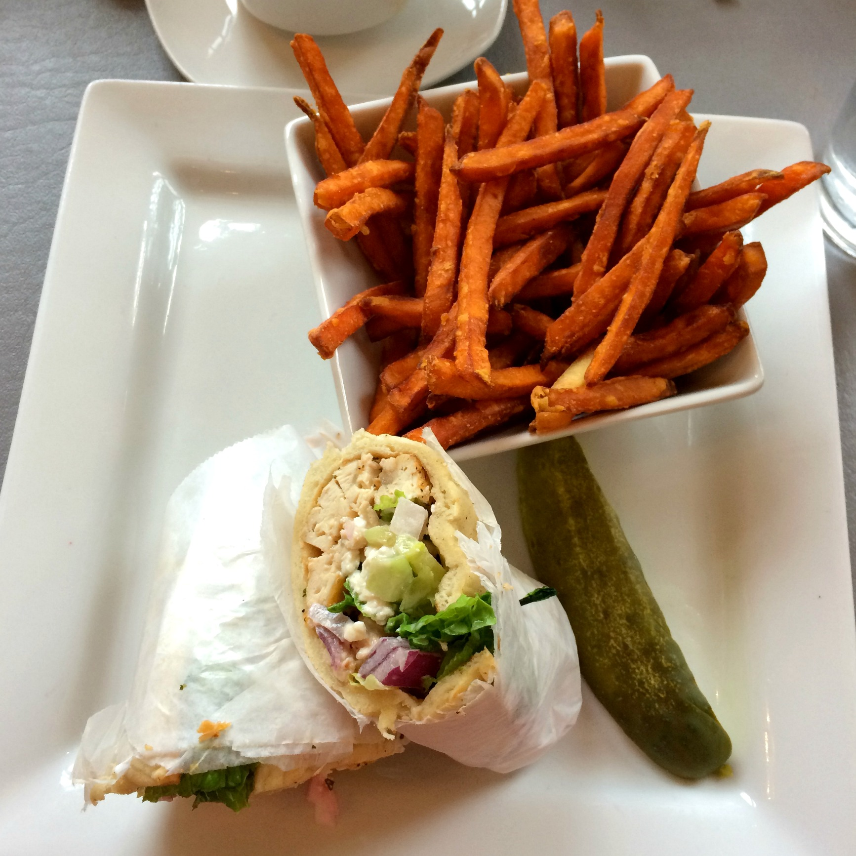 Rochester Brunch House chicken wrap and sweet potato fries