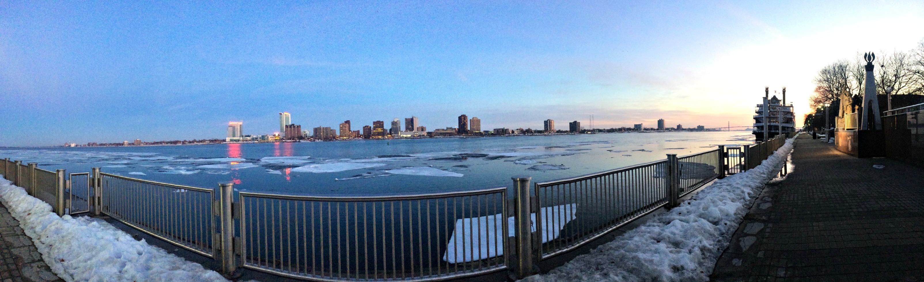Windsor Canada Skyline from Detroit panoramic