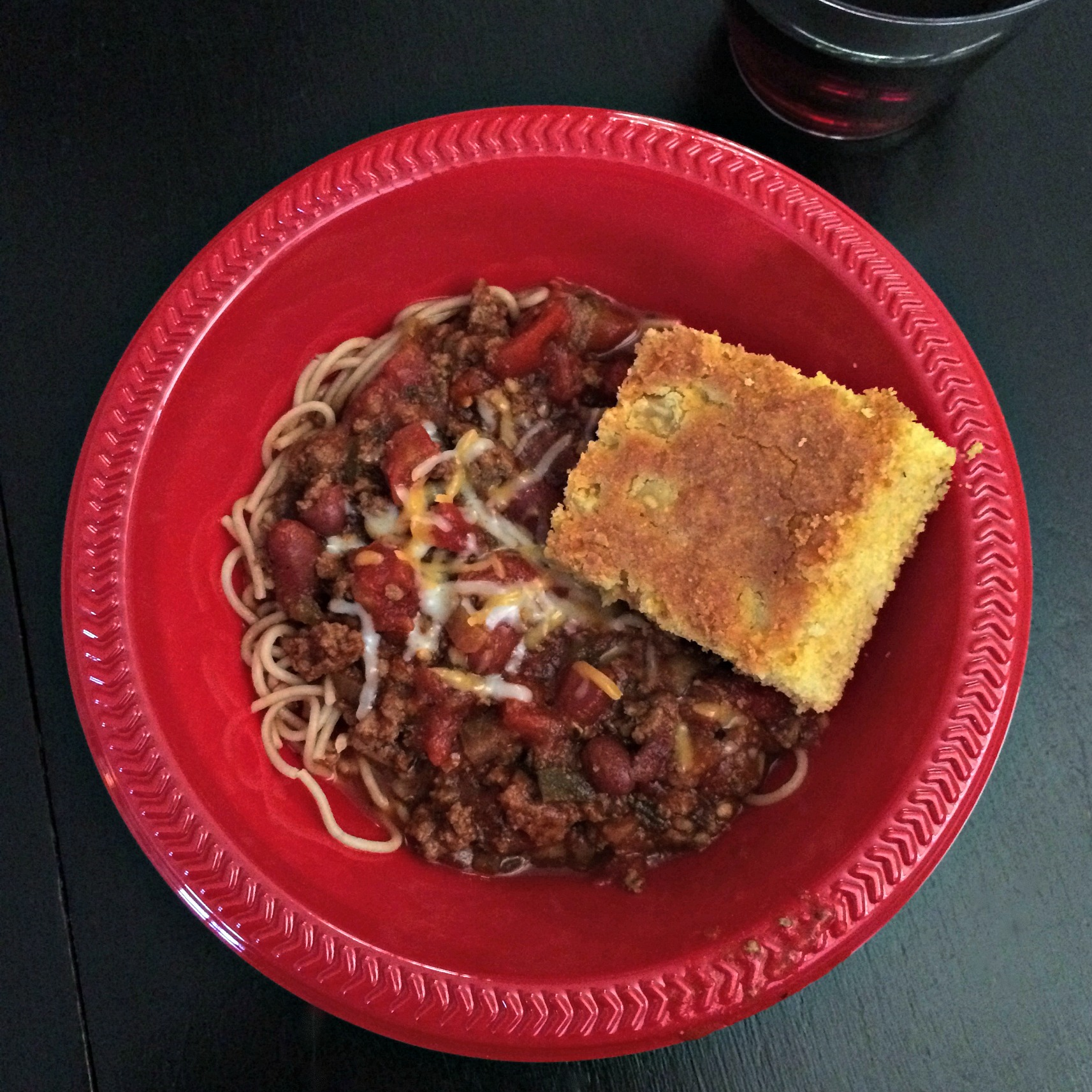 chili over noodles with gluten free cornbread