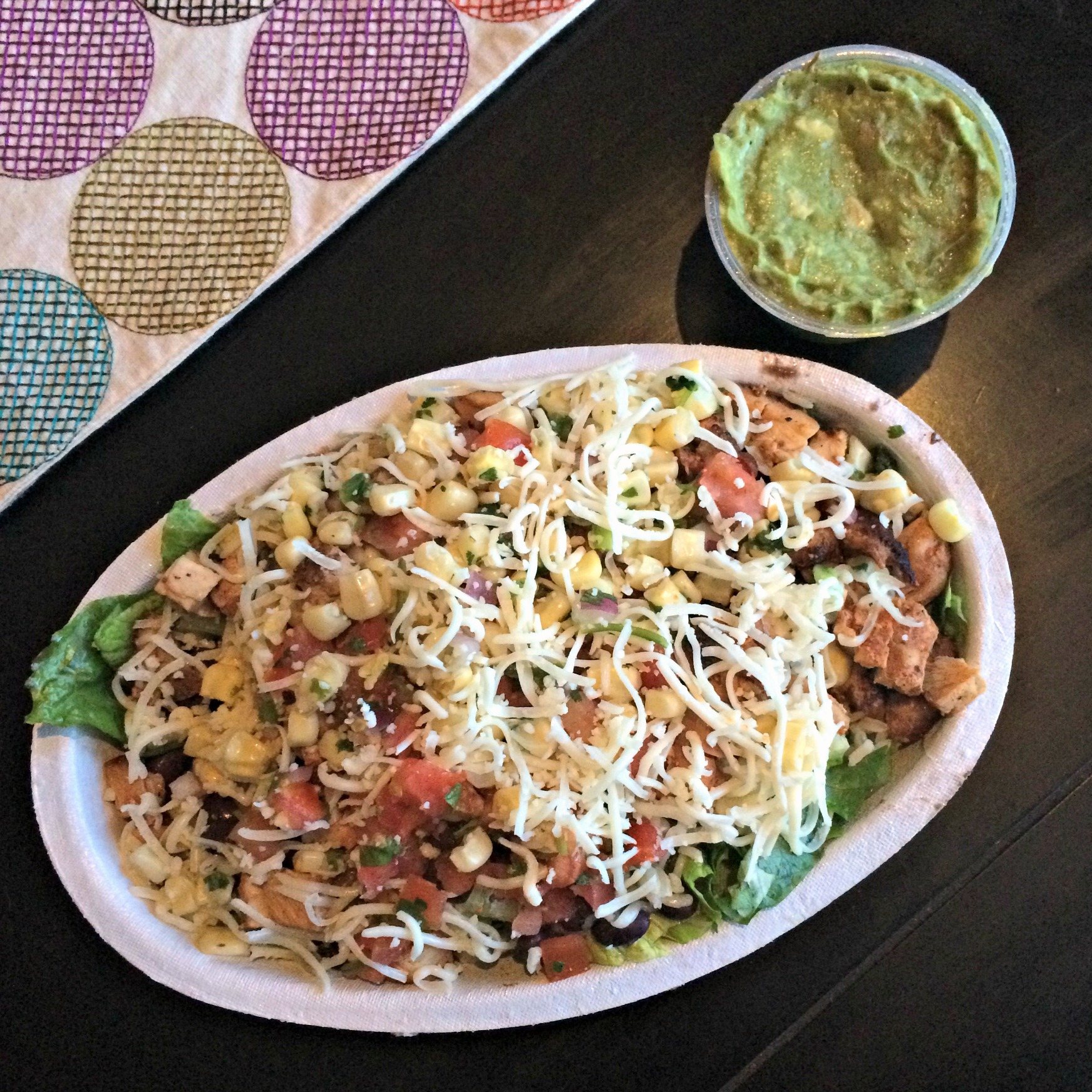 chipotle salad with chicken and guacamole