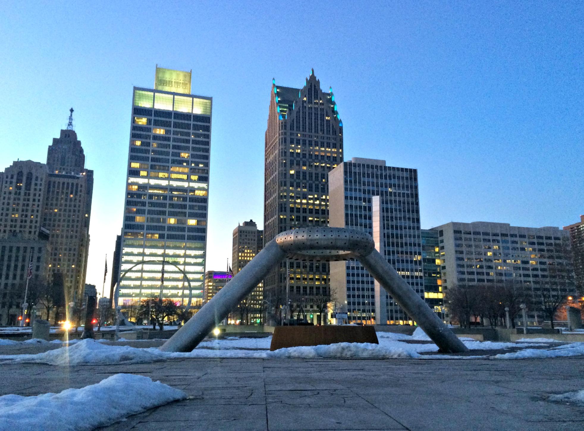 downtown detroit statues