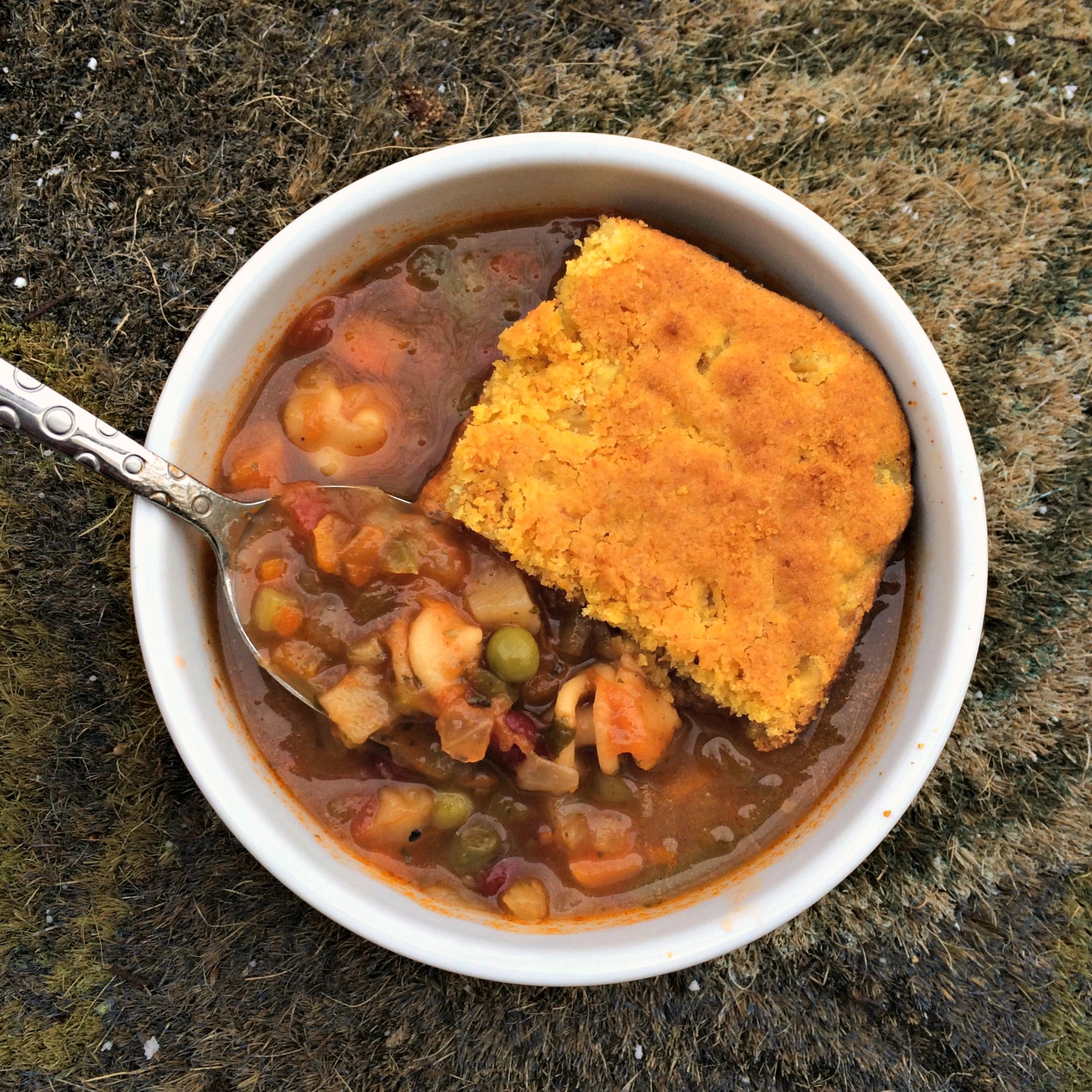 gluten free cornbread with amy's minestrone soup