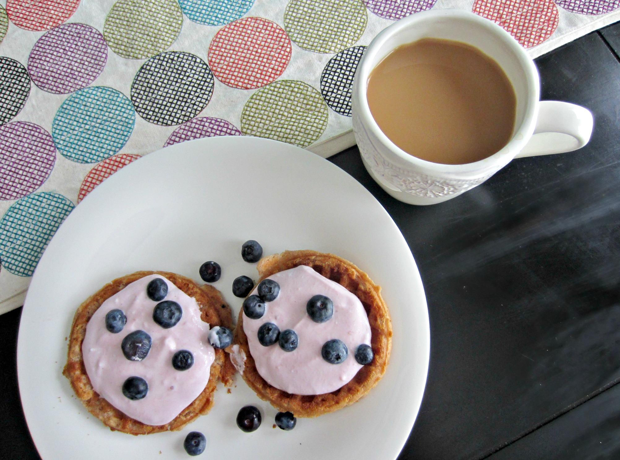 gluten free waffles with yogurt and berries
