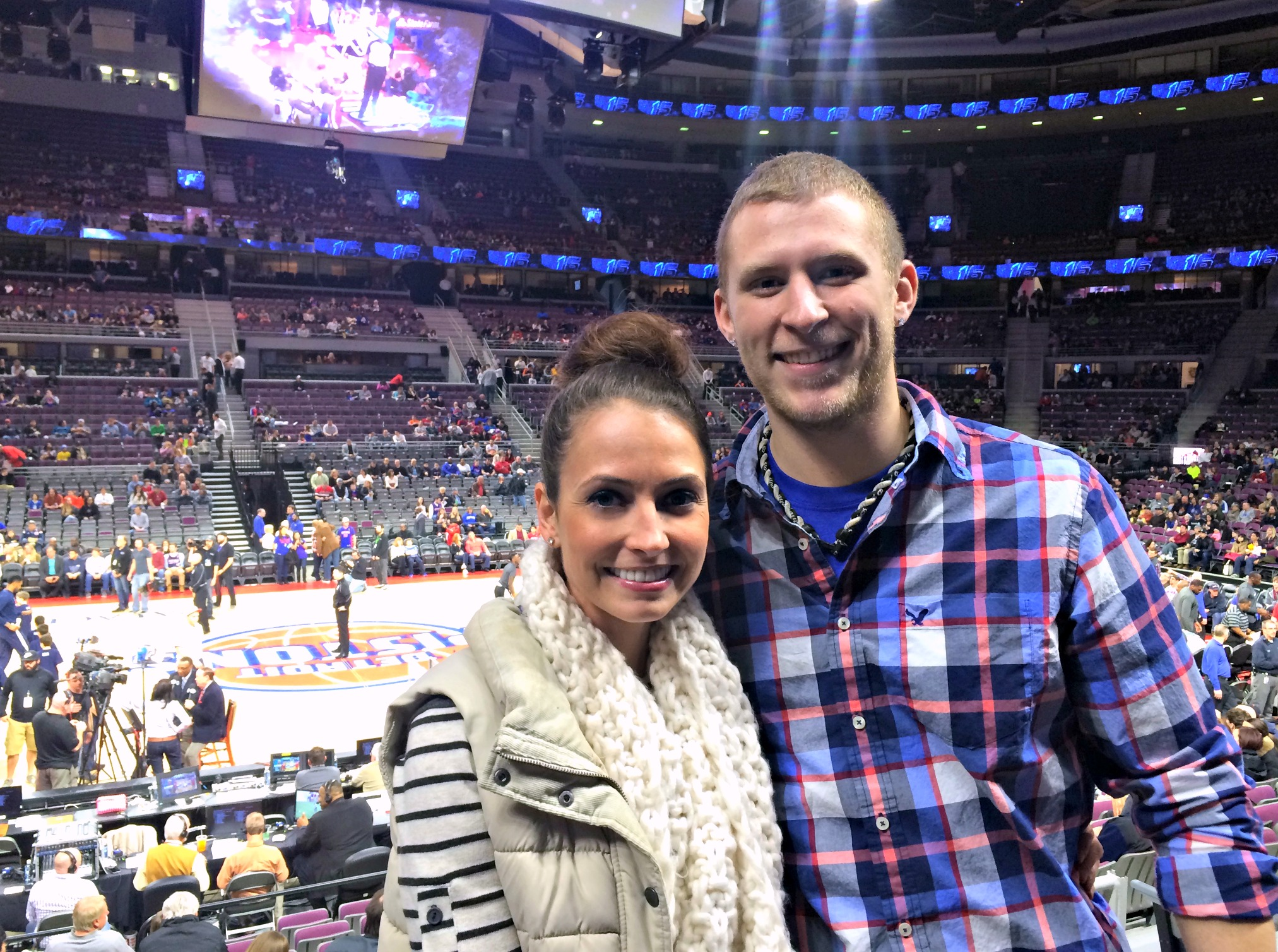 me and connor at the pistons game