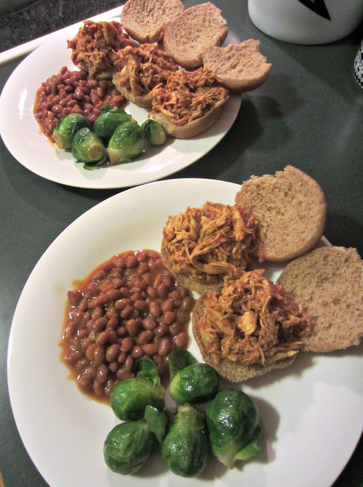 pulled bbq sliders with beans and brussels sprouts