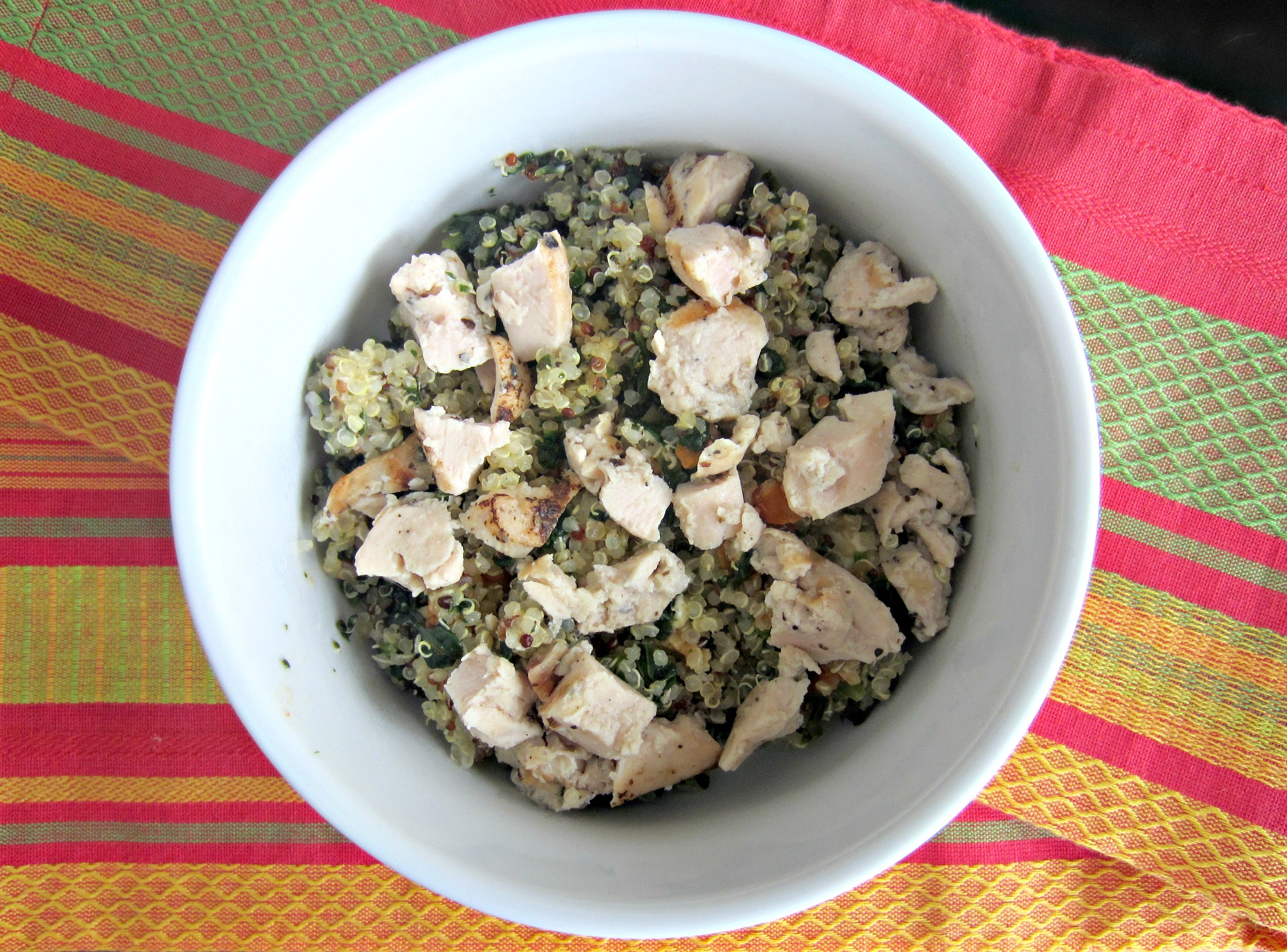 spinach quinoa with tomatoes and chicken