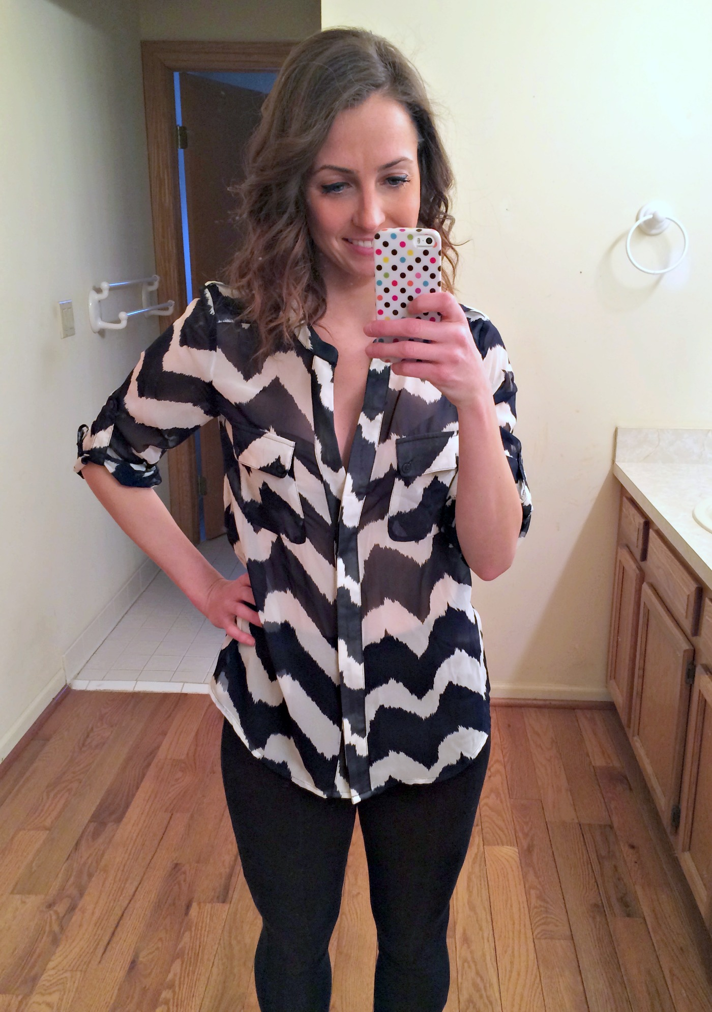 stitch fix collective concepts boregard wavy chevron front pocket blouse
