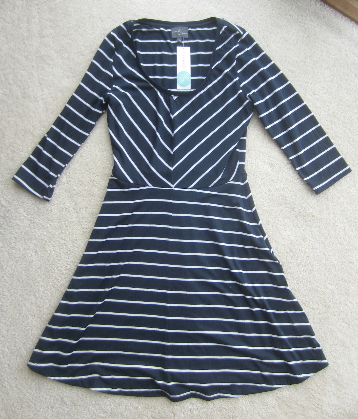 stitch fix striped 3/4 market & spruce dress