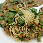 Amy's lentil vegetable soup over noodles