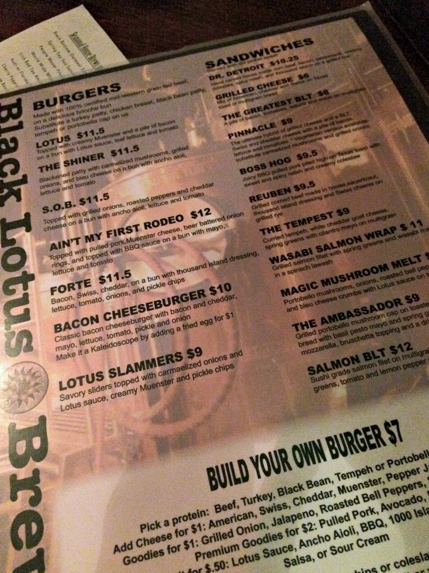 Black Lotus build your own burger menu