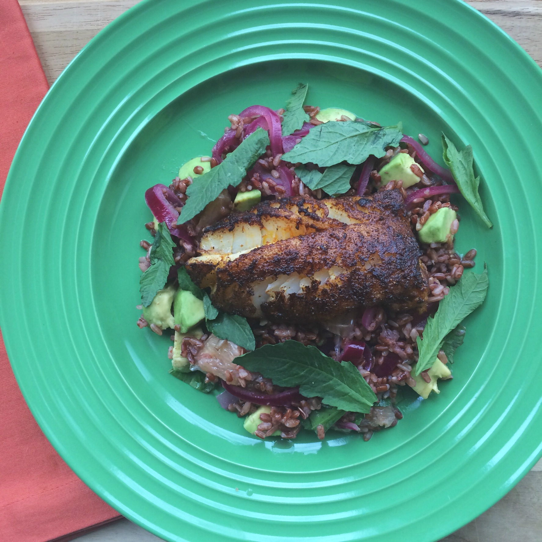 Blue Apron Chile-Blackened Cod dinner