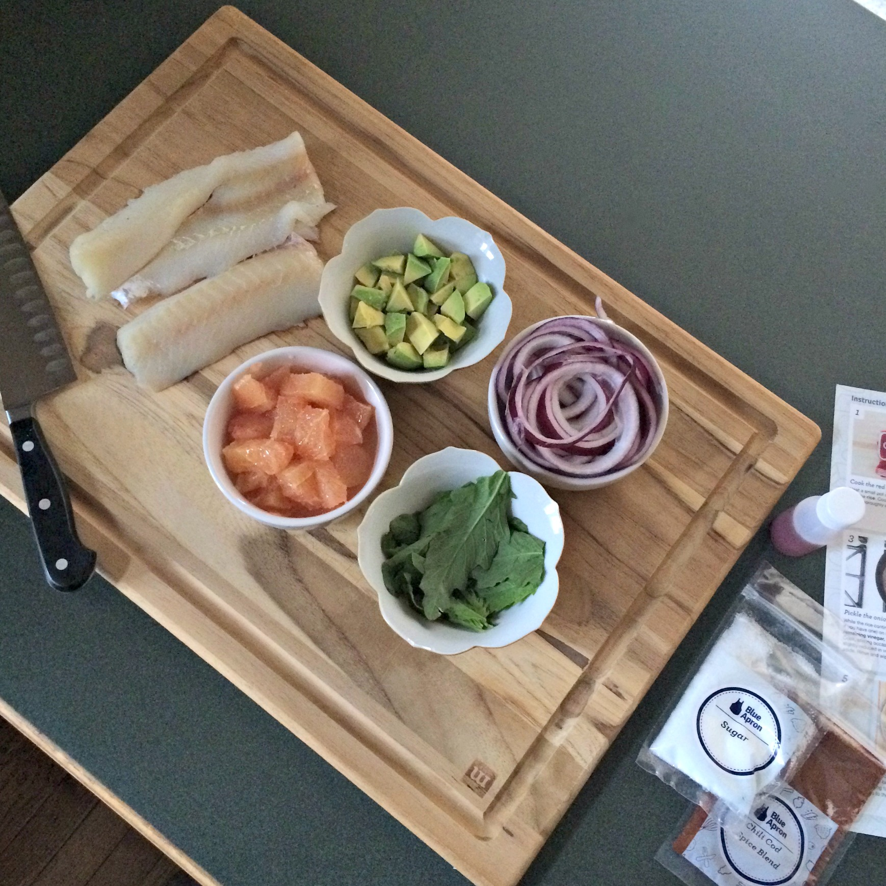 Blue Apron making dinner