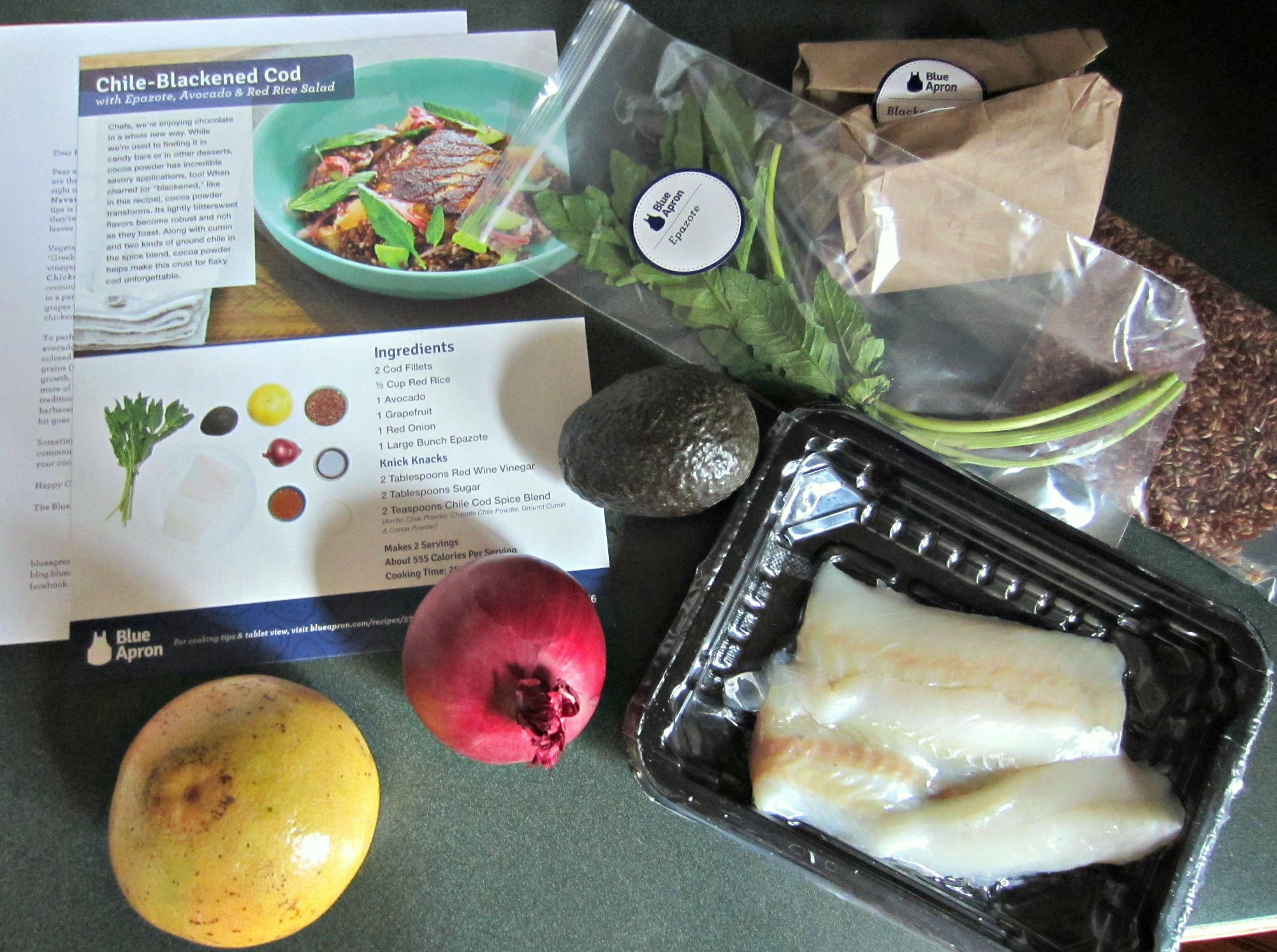 Blue Apron meal recipe and ingredients