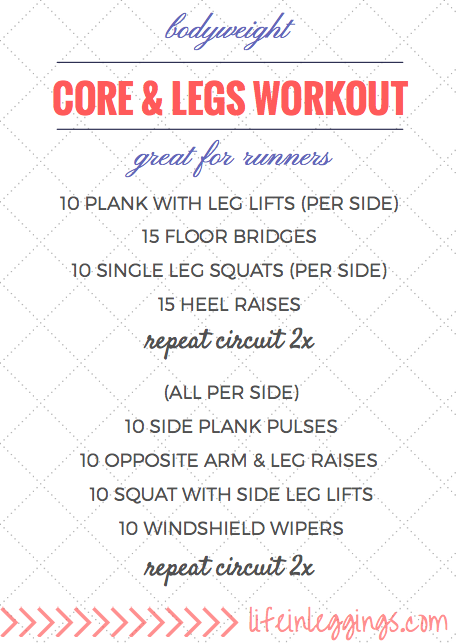 Bodyweight Core and Legs Workout For Runners